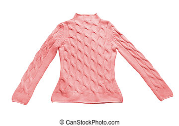 pullover - red sweater with pattern (contains clipping path)