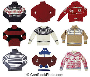Pullover - Nine winter sweaters isolated on white background