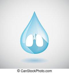 pulmón, agua, icono, aislado, gota, humano, sano