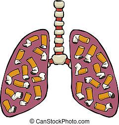 pulmón, humano, cenicero