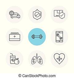 pulmões, alimento, sheild, caminhão, condicão física, proteja, coração, frutas, médico, eps, ícones, jogo, vetorial