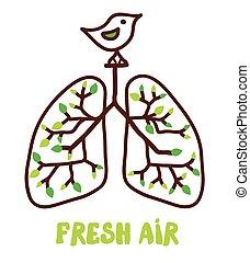 pulmões, e, natureza, -, ilustração, para, a, ar fresco,...