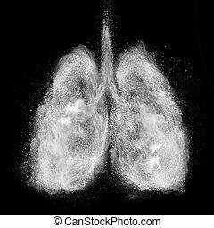 pulmones, hecho, de, blanco, polvo, explosión, aislado, en, negro