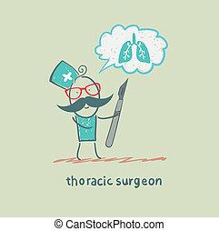 pulmones, torácico, tenencia, cirujano, piensa, escalpelo
