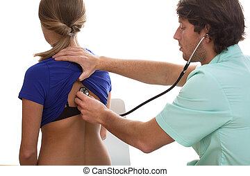 Pulmonologist testing a patient