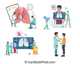 Pulmonology or respiratory medicine icon set, vector illustration