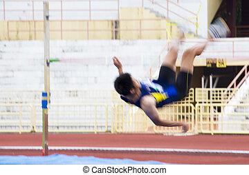 pulo alto, ação, (blurred)
