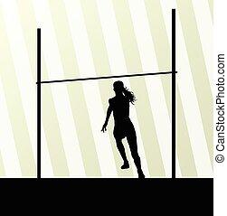 pulo alto, mulher, vetorial, abstratos