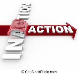 pulos, -, batidas, vitória, seta, ação, sobre, inaction