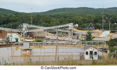 Pulp and paper mill. - Pulp and paper factory. Truck turning...