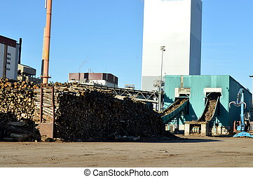 Pulp mill with two fireplaces,
