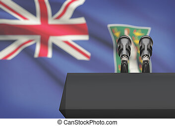 Pulpit and two microphones with a national flag on background - British Virgin Islands