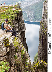 Pulpit Rock at Lysefjorden in Norway. A well known tourist attraction
