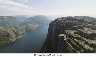 Pulpit Rock at Lysefjorden in Norway. The most famous...