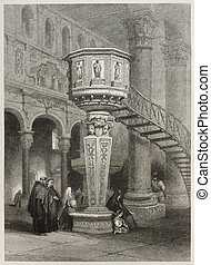 Pulpit - Old illustration of marble pulpit in Messina...