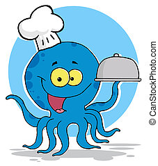 pulpo, chef, alimento porción