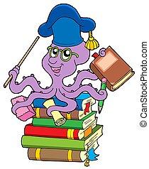 pulpo, libros, pila, profesor