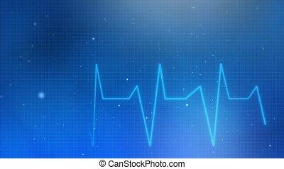 puls, kardiogram, błękitny, sygnał, uderzenie sera, abstrakcyjny, hydromonitor, loop., kreska, potłuczenie serca