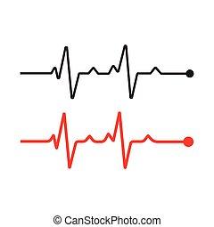 puls, kreska, wektor, ikona, komplet, logo