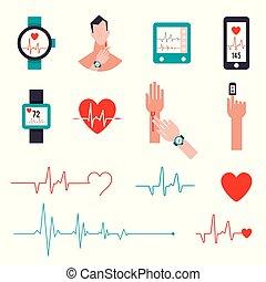 puls, style., illustration., hydromonitor, stosunek, running., komplet, mierzenie, ikony, wektor, serce, płaski
