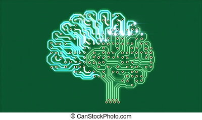 Pulsating electronic brain, seamless looped 3d animation...