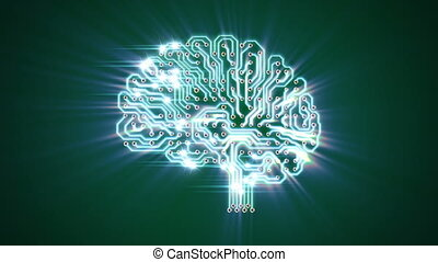 Pulsating electronic brain with rays, seamless looped 3d...