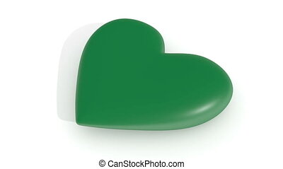 Pulsating green heart on a white background, 3d rendering,...