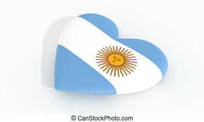 Pulsating heart in the colors of Argentina flag, on a white...
