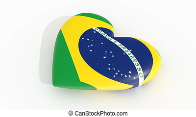 Pulsating heart in the colors of Brazil flag, on a white background, 3d rendering, loop