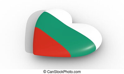 Pulsating heart in the colors of Bulgaria flag, on a white...