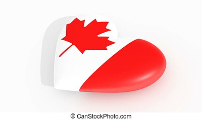 Pulsating heart in the colors of Canada flag, on a white...