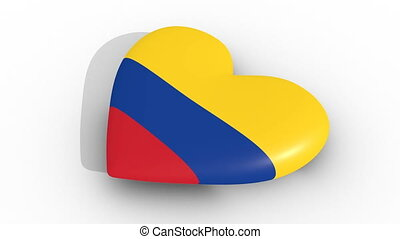 Pulsating heart in the colors of Colombia flag, on a white...