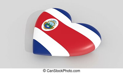 Pulsating heart in the colors of Costa Rica flag, on a white...