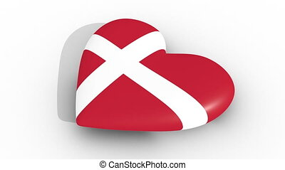 Pulsating heart in the colors of Denmark flag, on a white...