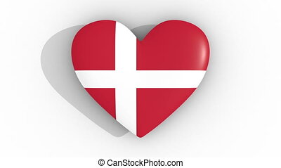 Pulsating heart in the colors of Denmark flag, on a white background, 3d rendering top, loop.