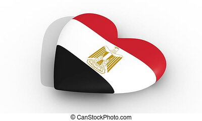 Pulsating heart in the colors of Egypt flag, on a white...