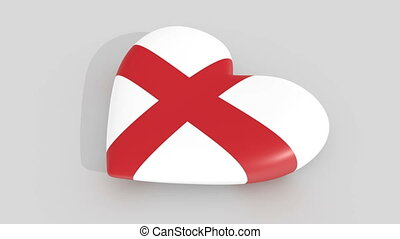 Pulsating heart in the colors of England flag, on a white...