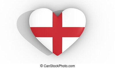 Pulsating heart in the colors of England flag, on a white background, 3d rendering top.