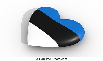 Pulsating heart in the colors of Estonia flag, on a white...