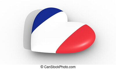 Pulsating heart in the colors of France flag, on a white...