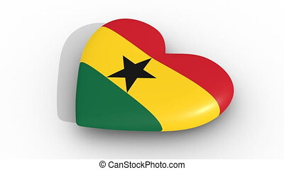 Pulsating heart in the colors of Ghana flag, on a white...