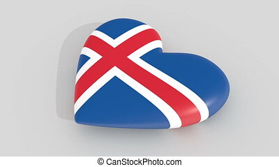 Pulsating heart in the colors of Iceland flag, on a white...