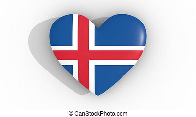 Pulsating heart in the colors of Iceland flag, on a white background, 3d rendering top, loop.