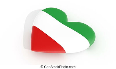 Pulsating heart in the colors of Iran flag, on a white...