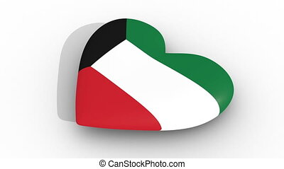 Pulsating heart in the colors of Kuwait flag, on a white...