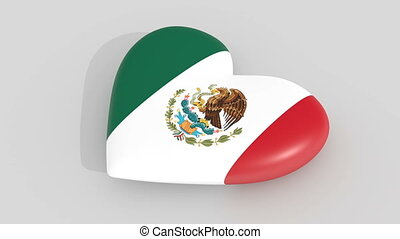 Pulsating heart in the colors of Mexico flag, on a white...