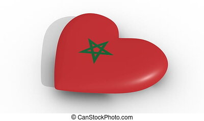 Pulsating heart in the colors of Morocco flag, on a white...