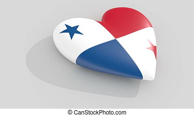 Pulsating heart in the colors of Panama flag, on a white...
