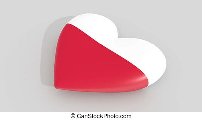 Pulsating heart in the colors of Poland flag, on a white background, 3d rendering side, loop