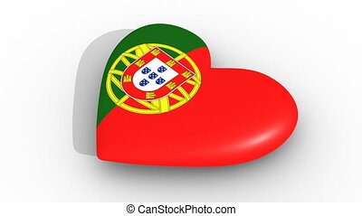 Pulsating heart in the colors of Portugal flag, on a white...
